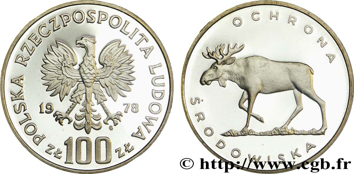 POLOGNE 100 Zlotych BE (Proof) aigle / protection de l'environnement : élan 1978 Varsovie SPL