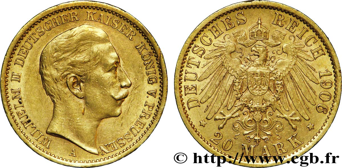 ALLEMAGNE - PRUSSE 20 Mark or, 2e type Guillaume II / aigle impérial 1906 Berlin SUP