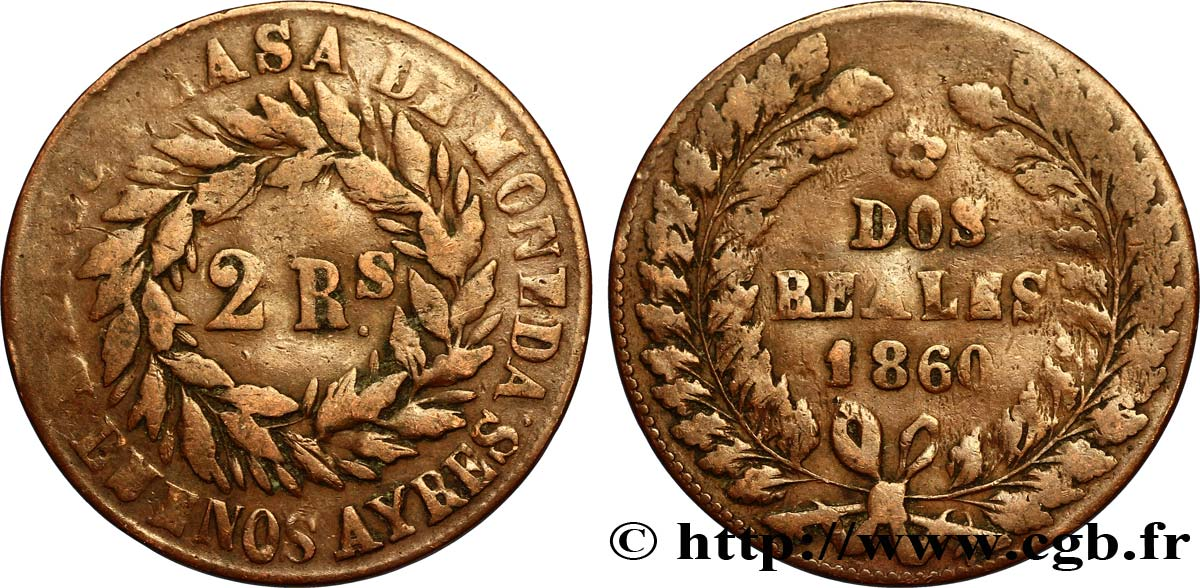 ARGENTINE 2 Reales Buenos Aires 1860  TB
