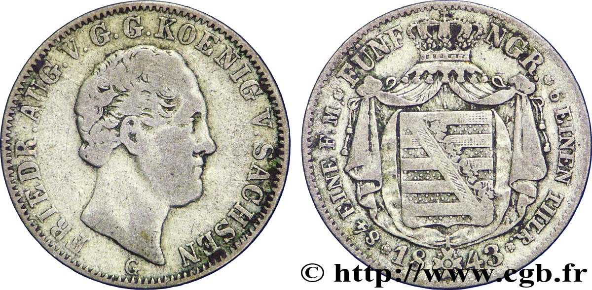 ALLEMAGNE - SAXE 1/6 Thaler Frédéric Auguste II 1843 Dresde TB