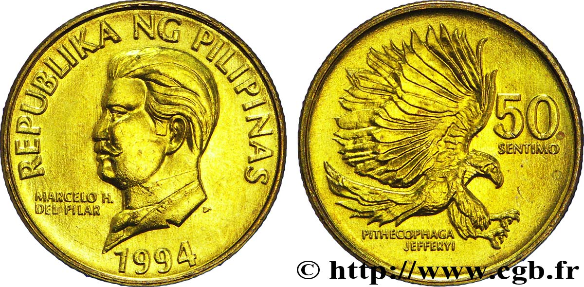 PHILIPPINES 50 Sentimos Marcelo H. del Pilar / Aigle des singes (Pithecophaga jefferyi) 1994  SPL