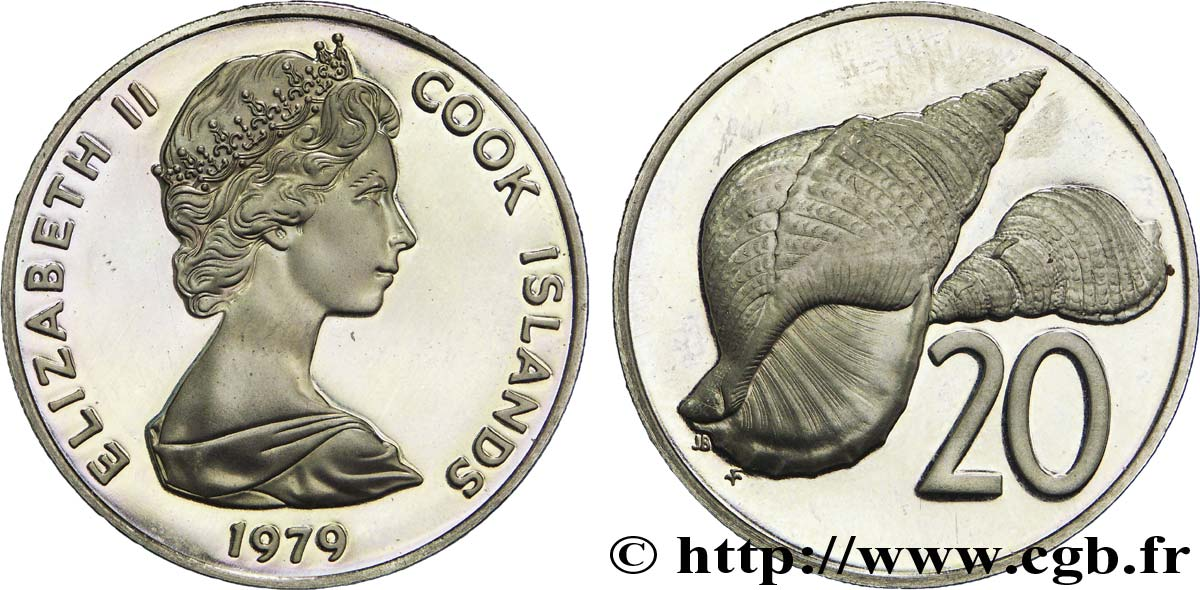 ÎLES COOK 20 Cents BE (proof) Elisabeth II / coquillage 1979  SPL