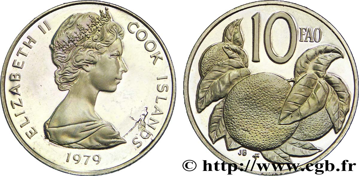 ÎLES COOK 10 Cents BE (proof) Elisabeth II / orange 1979  SPL