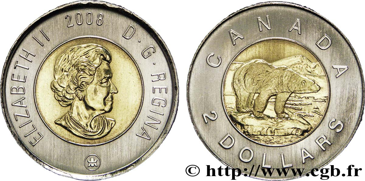CANADA 2 Dollars Elisabeth II / Ours polaire 2008  SPL