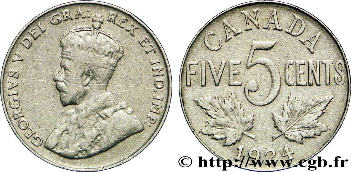 CANADA 5 Cents Georges V 1924  TB+