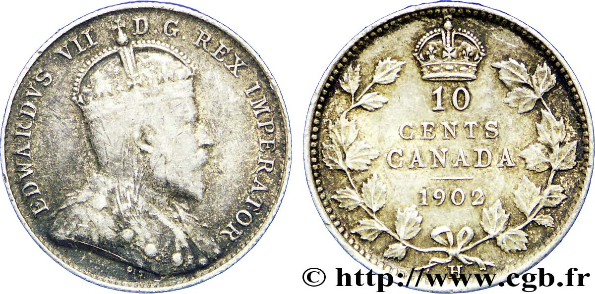 CANADA 10 Cents Georges V 1902 Heaton - H TTB