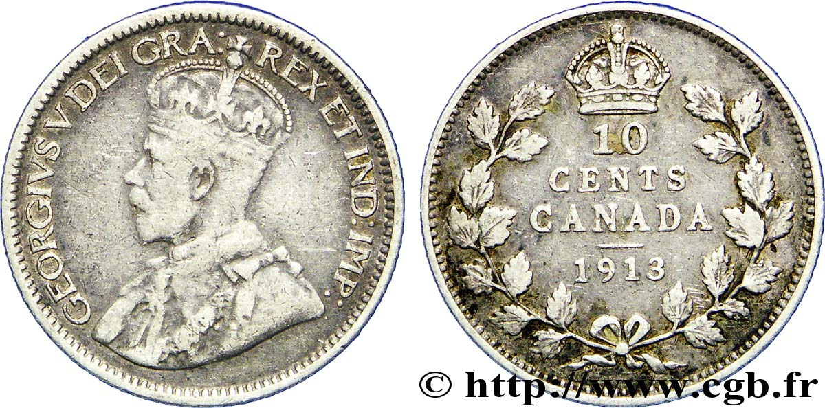 CANADA 10 Cents Georges V 1913  TB+