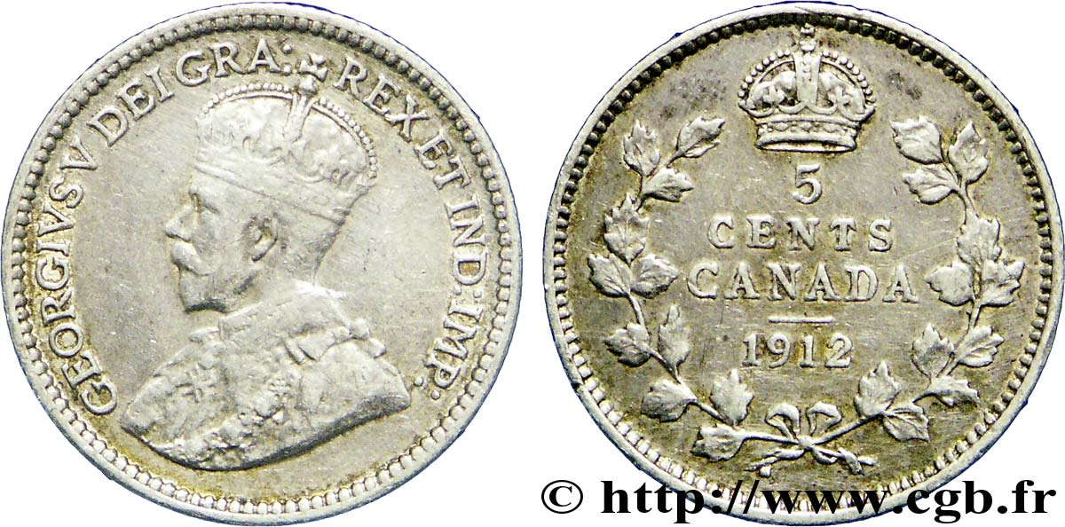 CANADA 5 Cents Georges V 1912  TB