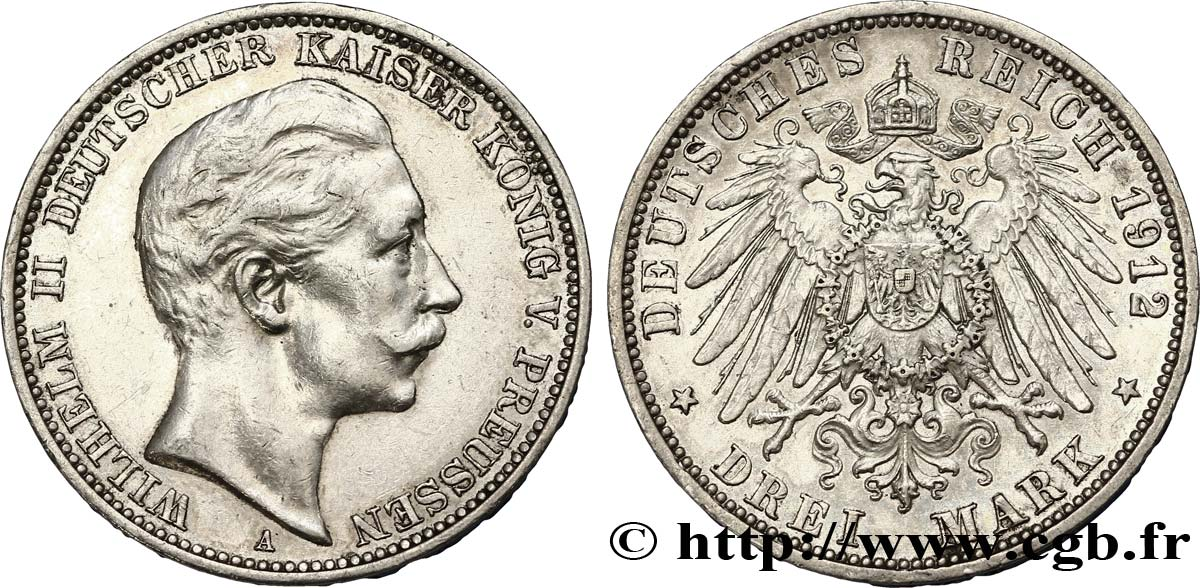 ALLEMAGNE - PRUSSE 3 Mark Guillaume II / aigle 1912 Berlin TTB+