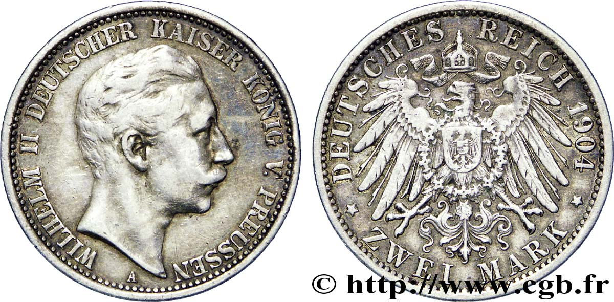 ALLEMAGNE - PRUSSE 2 Mark Guillaume II / aigle 1904 Berlin TTB