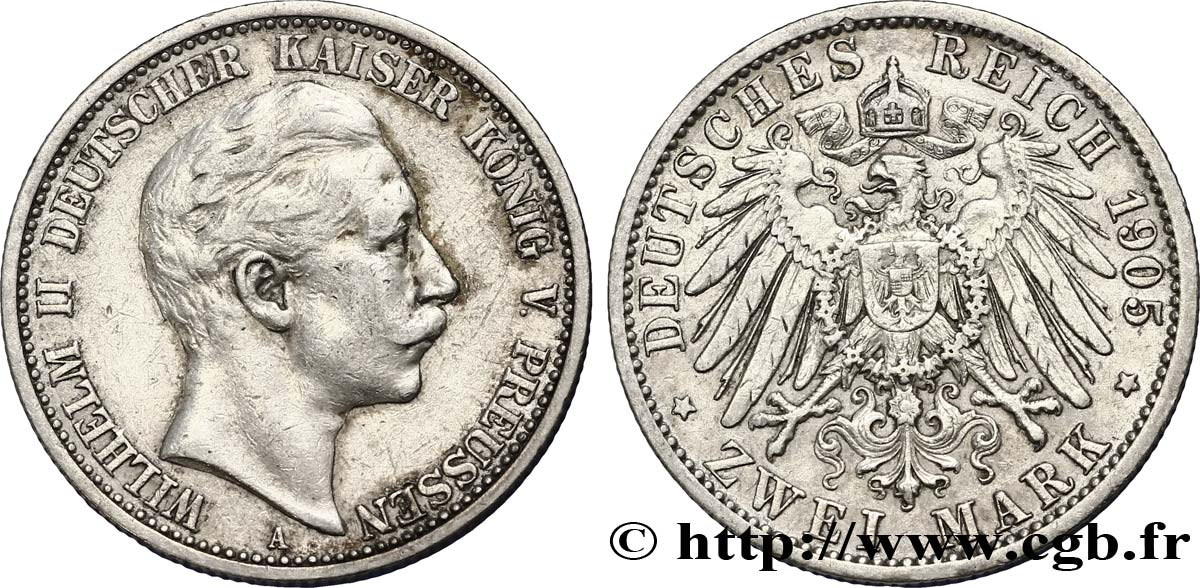 ALLEMAGNE - PRUSSE 2 Mark Guillaume II / aigle 1905 Berlin TTB