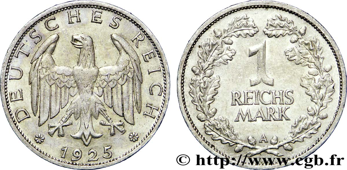 ALLEMAGNE 1 Reichsmark aigle 1925 Berlin SUP