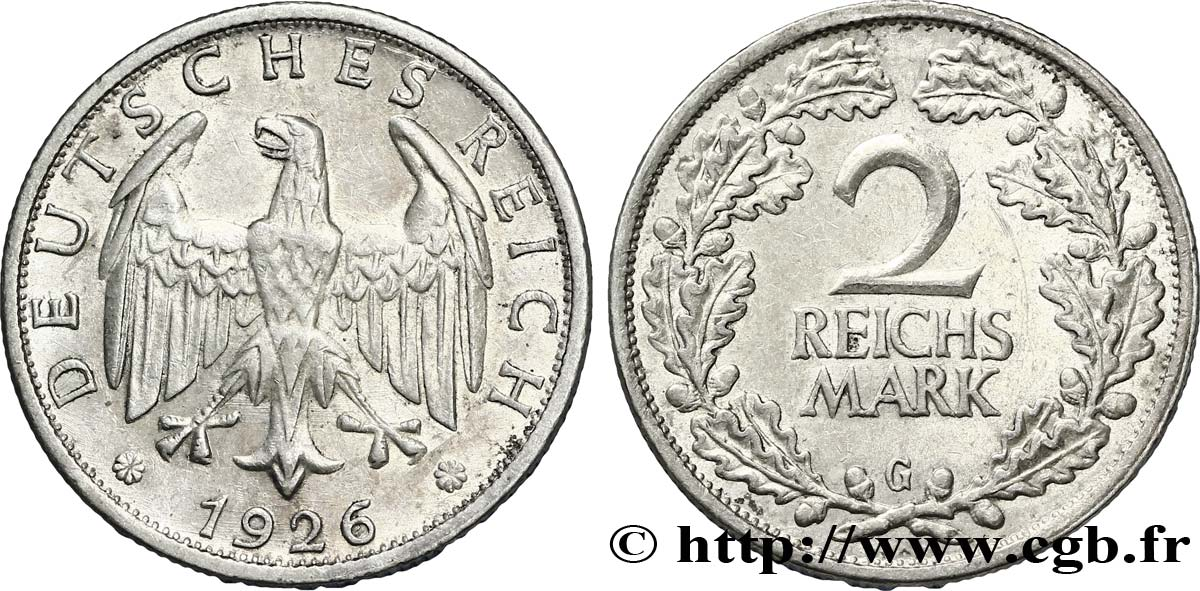 ALLEMAGNE 2 Reichsmark aigle 1926 Karlsruhe - G SUP