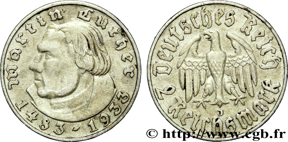 ALLEMAGNE 2 Reichsmark Martin Luther / aigle 1933 Hambourg - J TTB