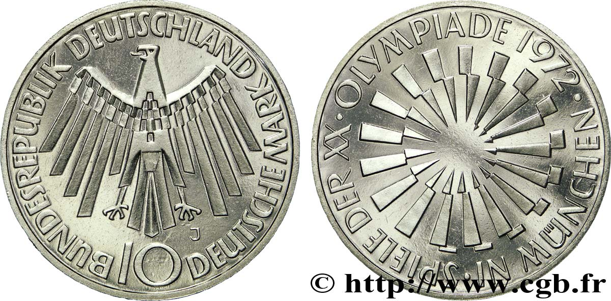 "ALLEMAGNE 10 Mark BE (Proof) XXe J.O. Munich / aigle ""IN MÜNCHEN"" 1972 Hambourg - J SPL"
