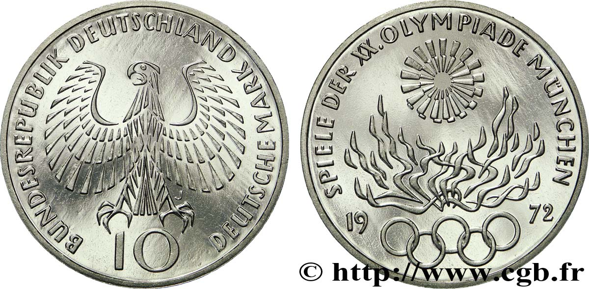 ALLEMAGNE 10 Mark BE (Proof) XXe J.O. Munich : aigle / flamme olympique 1972 Hambourg - J SPL