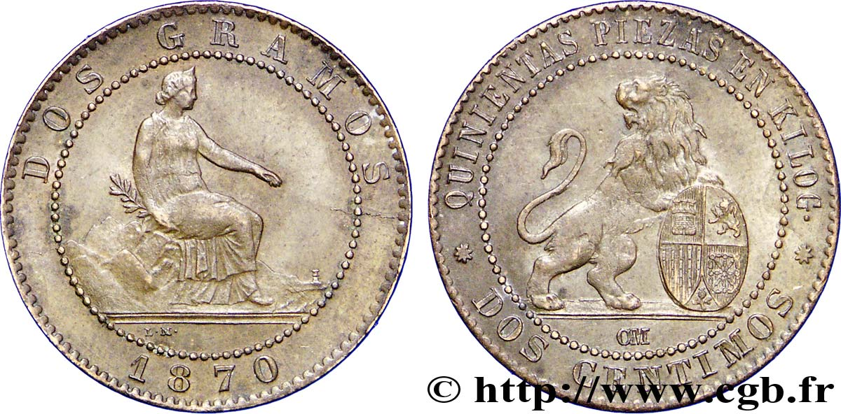 ESPAGNE 2 Centimos monnayage provisoire 1870 Oeschger Mesdach & CO SUP