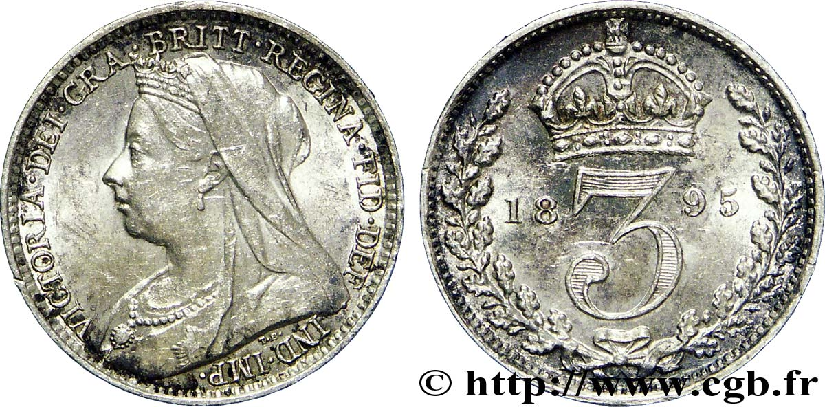 "ROYAUME-UNI 3 Pence Victoria ""Old Head"" 1895  SUP"