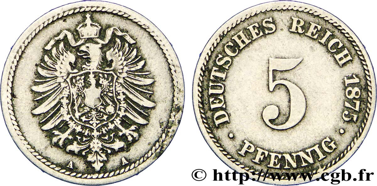 ALLEMAGNE 5 Pfennig aigle impérial 1875 Berlin TB+
