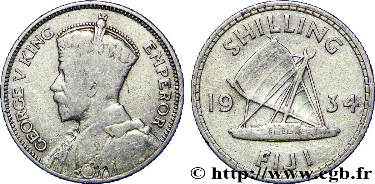 FIDJI 1 Shilling Georges  V / voilier traditionnel 1934  TB