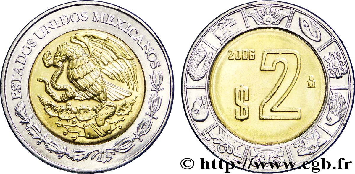 MEXIQUE 2 Pesos aigle 2006 Mexico SPL