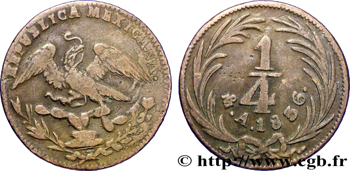 MEXIQUE 1/4 Real Aigle 1836 Mexico TB+