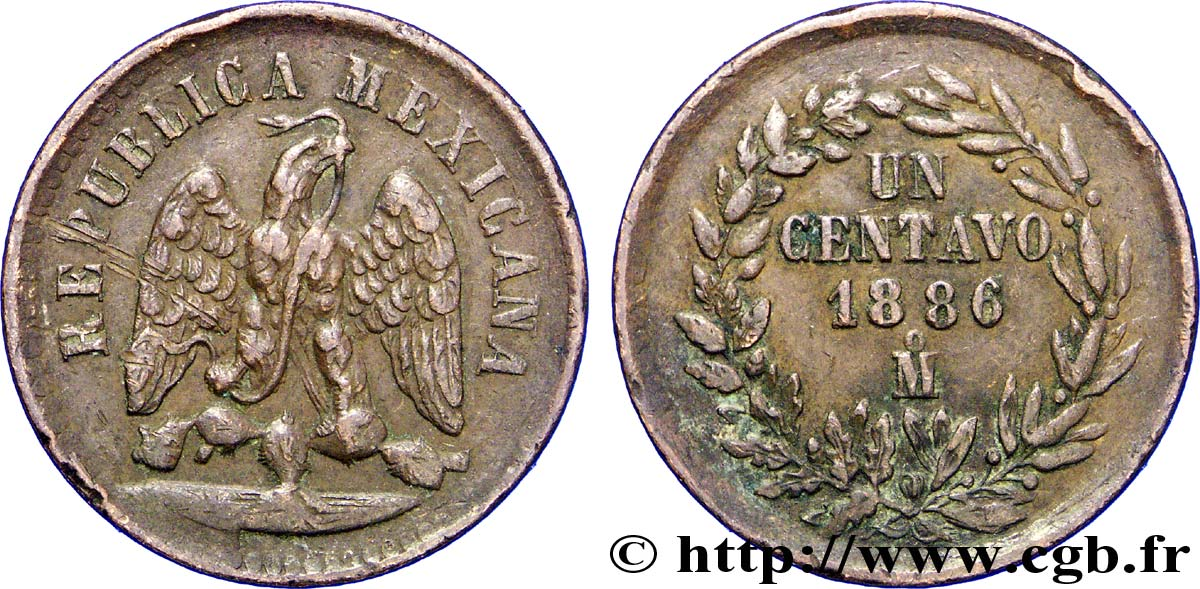 MEXIQUE 1 Centavo Aigle 1886 Mexico TTB