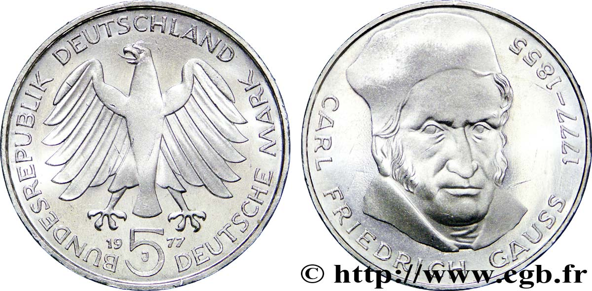 ALLEMAGNE 5 Mark Carl Friedrich Gauss 1977 Hambourg SPL