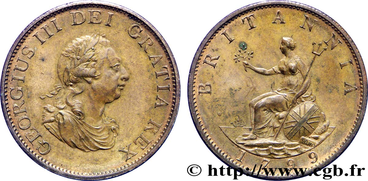ROYAUME-UNI 1/2 Penny Georges III tête laurée 1799 Soho SUP