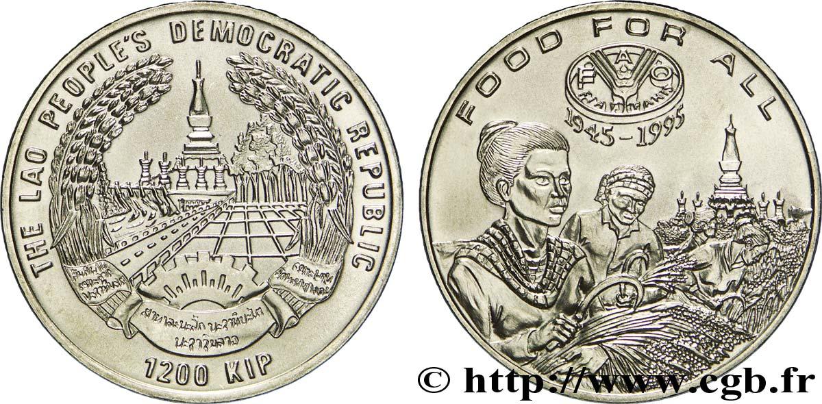 LAOS 1200 Kip 50e anniversaire de la FAO : emblème / récolte du riz 1995