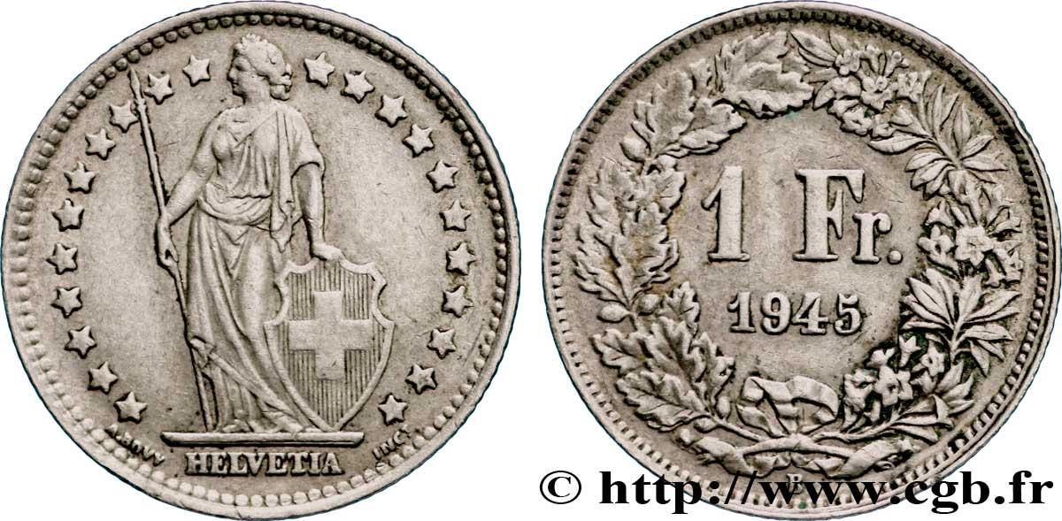 Switzerland 1 Franc Helvetia 1945 Berne Fwo 228477 World Coins
