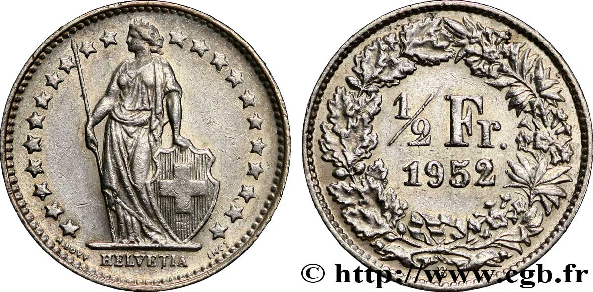Suisse 1 2 franc helvetia 1952 berne b ttb fwo 228731 monde - Vente internet suisse ...