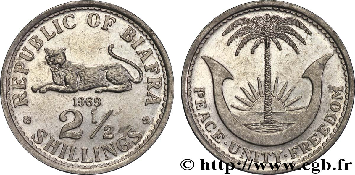 BIAFRA 2 1/2 Shilling aigle / palmier 1969  SUP