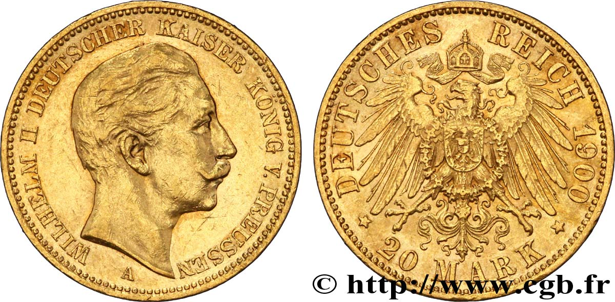ALLEMAGNE - PRUSSE 20 Mark Guillaume II 1900 Berlin SUP