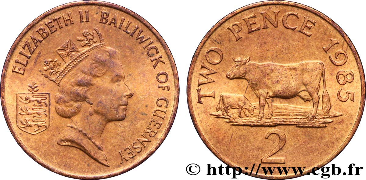 GUERNESEY 2 Pence Elisabeth II / vaches 1985  SUP