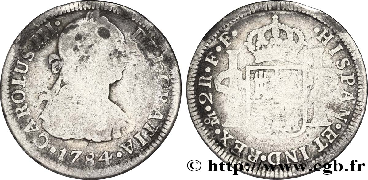 MEXIQUE 2 Reales Charles III FF 1784 Mexico B+