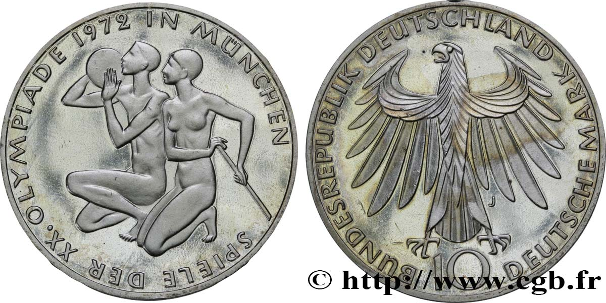 ALLEMAGNE 10 Mark BE (Proof) XXe J.O. Munich : basket-ball et canoeing / aigle 1972 Hambourg - J SPL