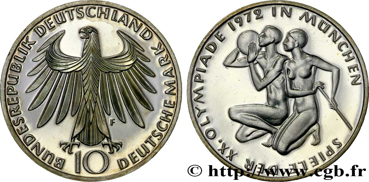 ALLEMAGNE 10 Mark BE (Proof) XXe J.O. Munich : basket-ball et canoeing / aigle 1972 Stuttgart - F SPL