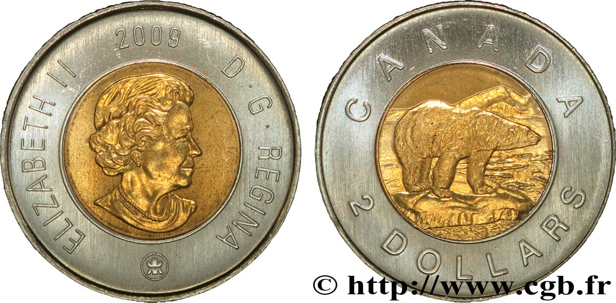 CANADA 2 Dollars Elisabeth II / Ours polaire 2009  SPL