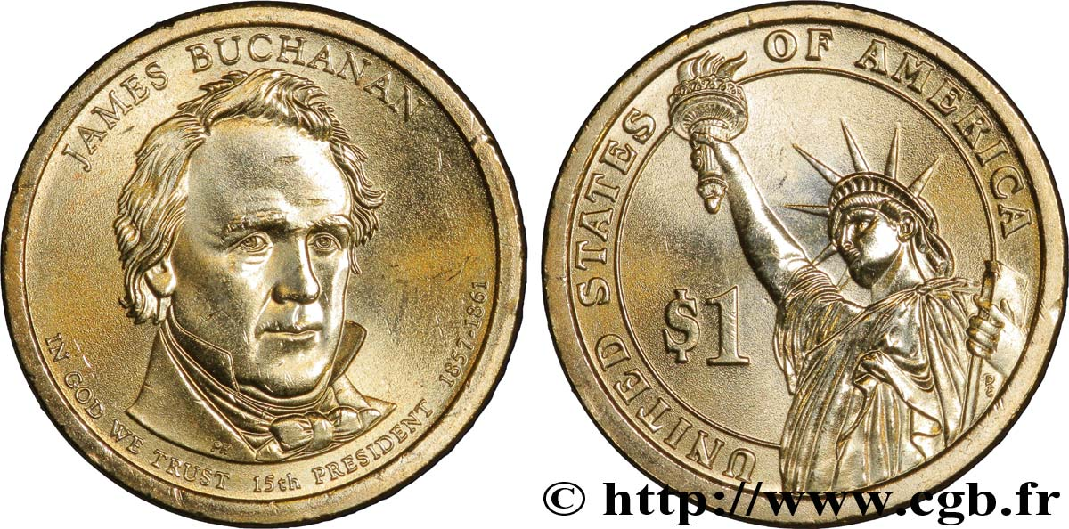 UNITED STATES OF AMERICA 1 Dollar Présidentiel James Buchanan tranche B 2010 Denver MS
