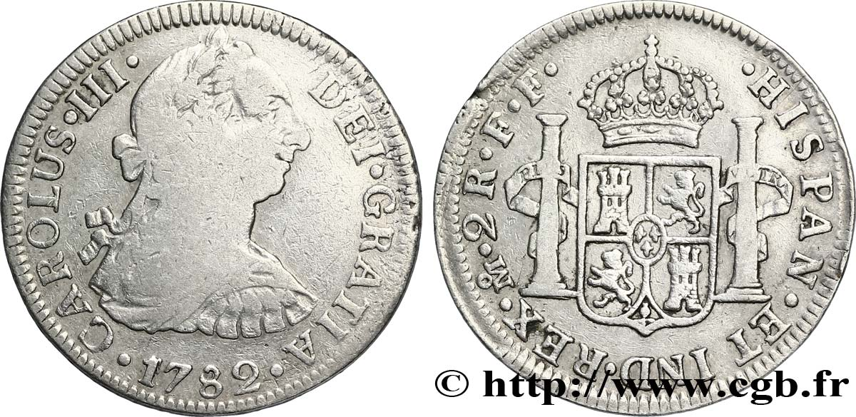 MEXIQUE 2 Reales Charles III 1782 Mexico TB