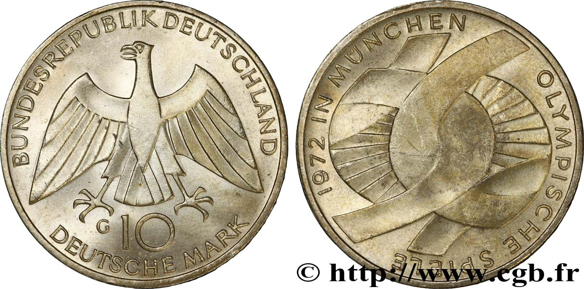 ALLEMAGNE 10 Mark XXe J.O. Munich : l'idéal olympique / aigle 1972 Karlsruhe - G SUP