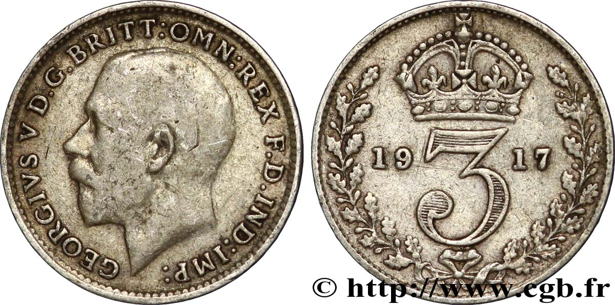 ROYAUME-UNI 3 Pence Georges V / couronne 1917  TB+