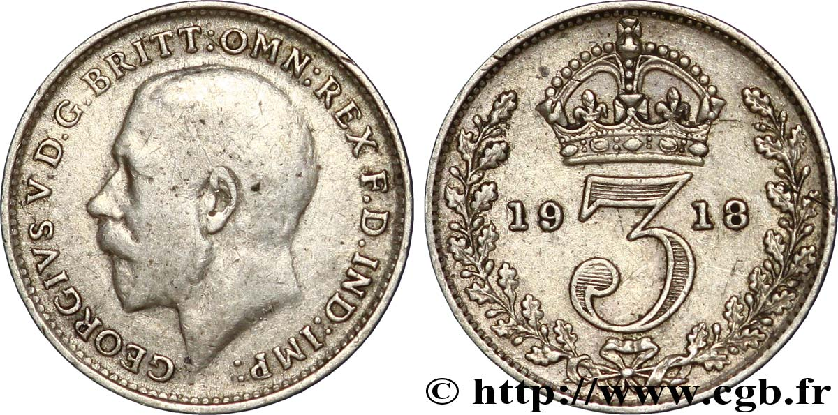ROYAUME-UNI 3 Pence Georges V / couronne 1918  TB+
