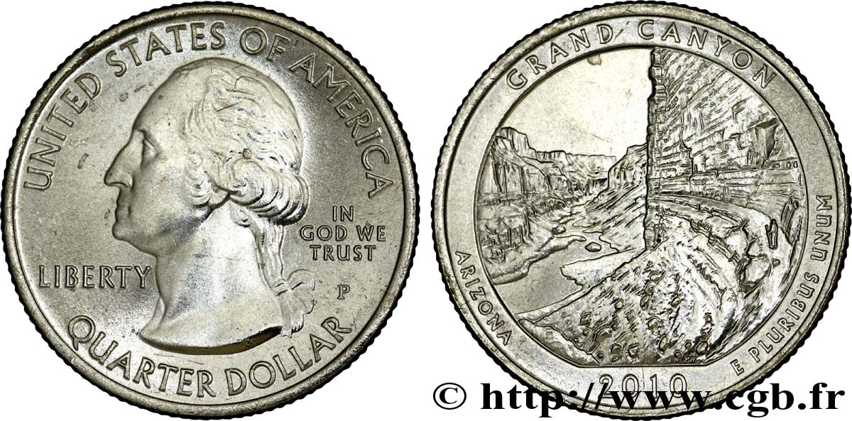 UNITED STATES OF AMERICA 1/4 Dollar Parc National du Grand Canyon - Arizona : vue Grand Canyon 2010 Philadelphie MS