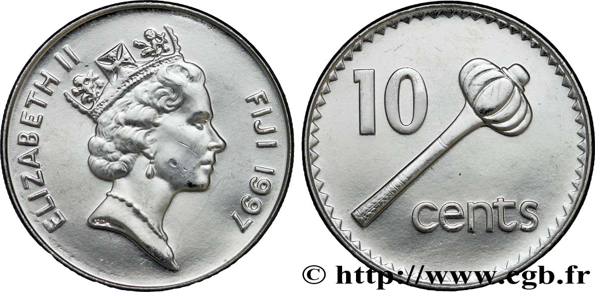 FIDJI 10 Cents Elisabeth II / massue 1997 Royal Mint, Llantrisant SPL