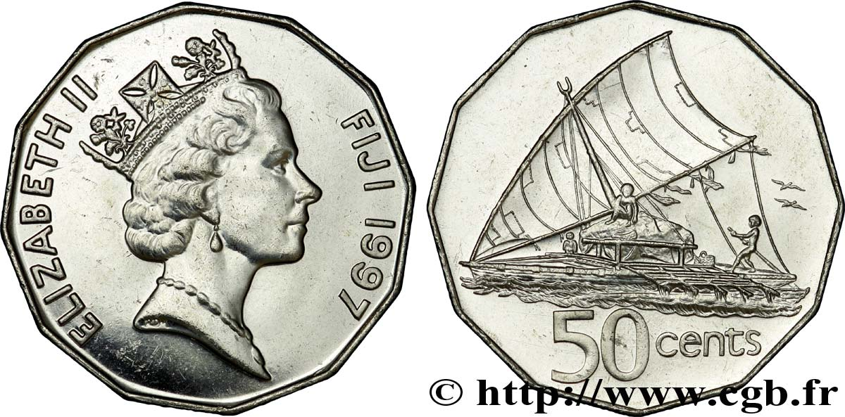 FIDJI 50 Cents Elisabeth II / bateau traditionnel fidjien 1997 Royal Mint, Llantrisant SPL