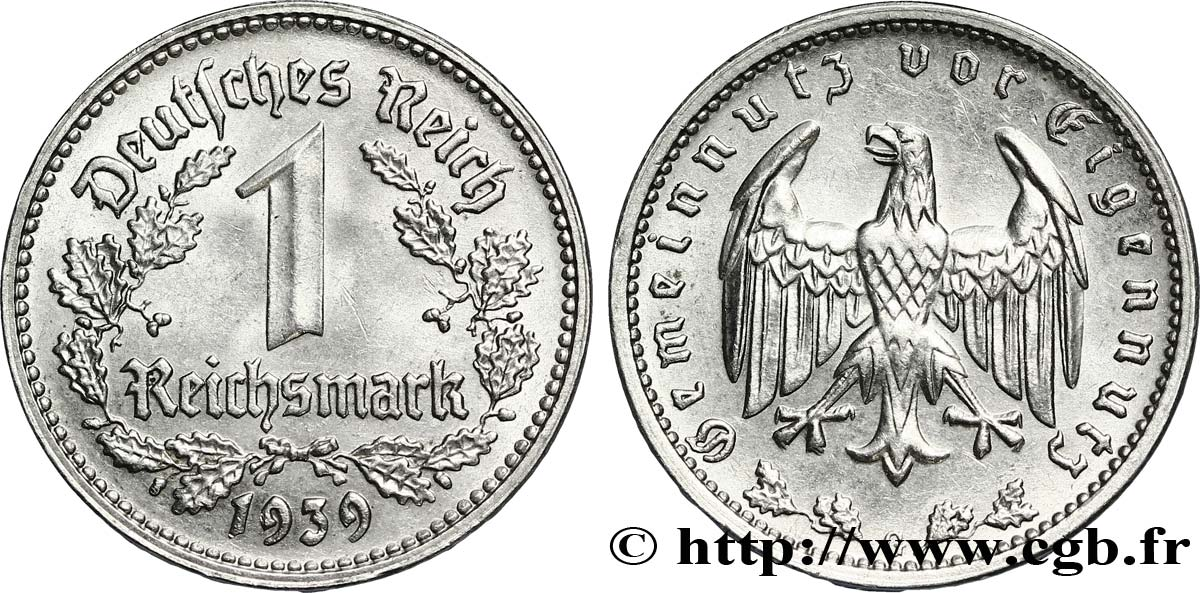 ALLEMAGNE 1 Reichsmark aigle 1939 Karlsruhe - G SUP