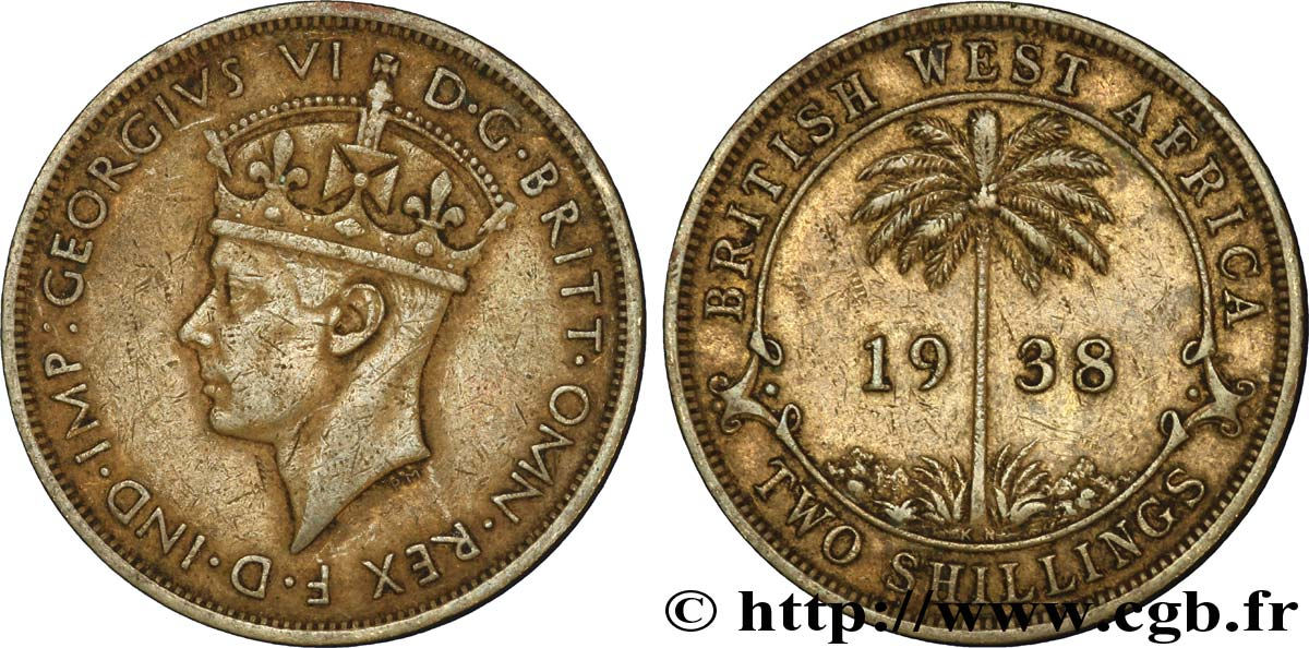 AFRIQUE OCCIDENTALE BRITANNIQUE 2 Shillings Georges VI / palmier 1938 Kings Norton - KN TTB