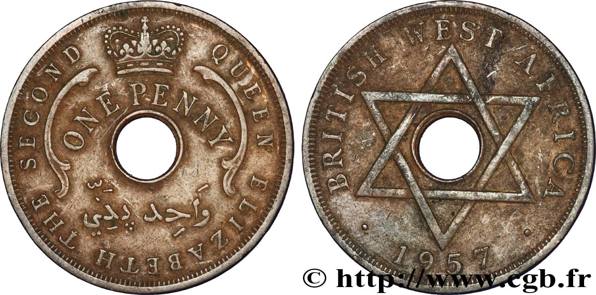 AFRIQUE OCCIDENTALE BRITANNIQUE 1 Penny Georges VI 1957 Heaton - H TTB